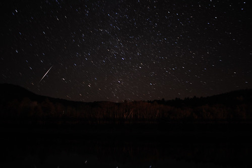 Sacandaga Lake, N.Y. Star Trails Dec 25 2011 w shooting star