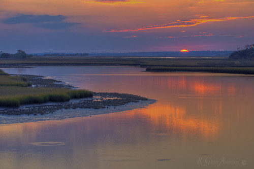 ocean sunset beach water salt marsh topsail hdr a850