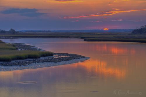 ocean sunset beach water salt marsh topsail hdr a850