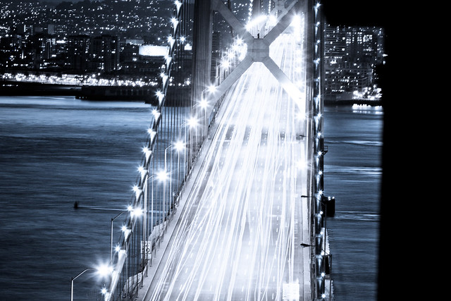 Moving Cars - San Francisco & Bay Bridge BW