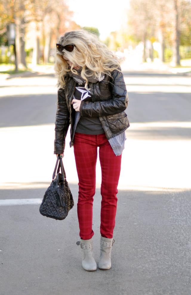 red jeans - leather jacket-big hair