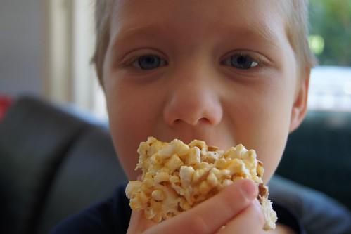 How To Make Caramel Popcorn - eating