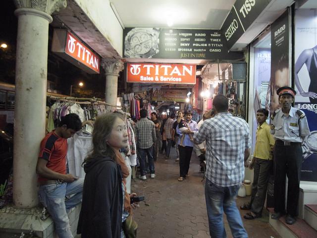 Strolling through night stalls. Mumbai, Dec 2011. GXR283