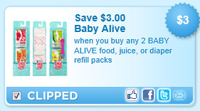 Baby Alive Food, Juice, Or Diaper Refill Packs Coupon