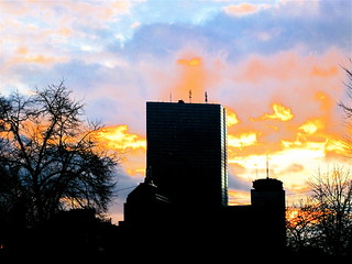 boston prudential building colorful sunset 1