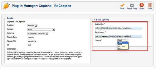 Plugin Captcha Joomla! 2.5