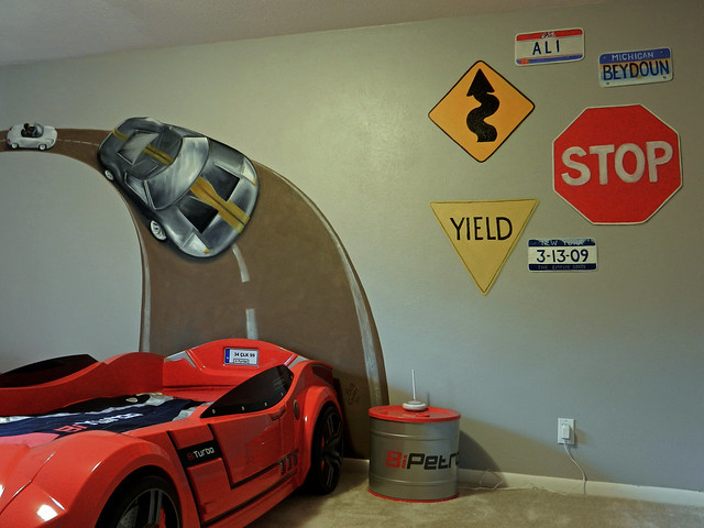 Race Car Bedroom Mural Painted 2011 As Background To Child Flickr Phot