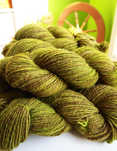 34oz variegated BFL dyed with color Key Lime, total of 1,327yds-worsted weight yarn-chain plied
