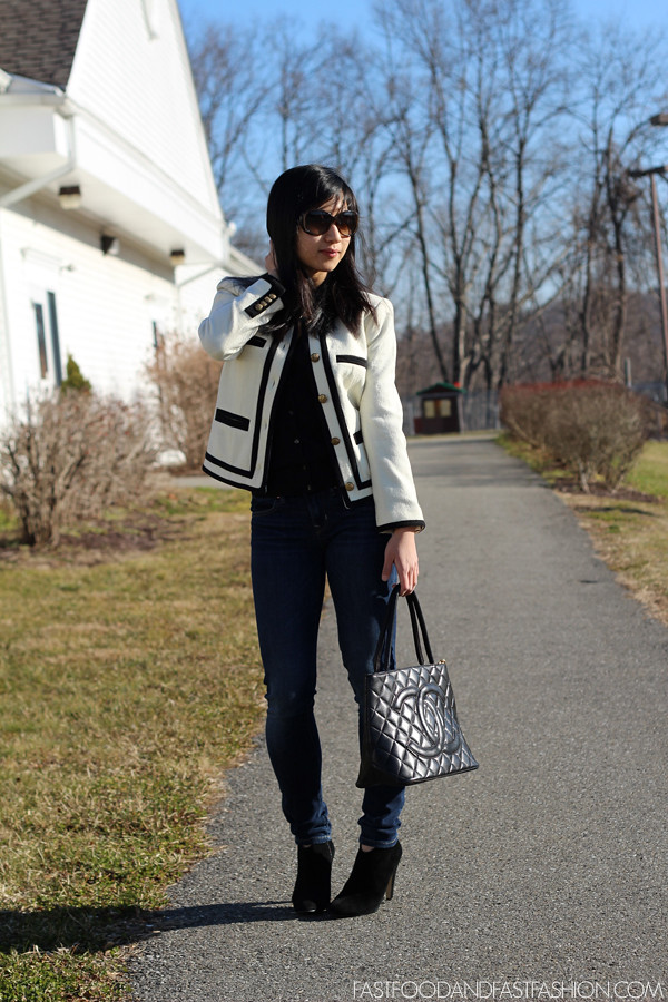 j crew Fanfare jacket in felted wool moschino chanel