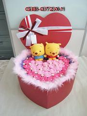 GB-072A1  好sweet winnie the pooh 錄音公仔心形花花禮合
