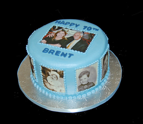 70th Birthday Party Cake Designed With Photos