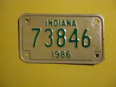 INDIANA 1986 ---MOTORCYCLE PLATE #73846