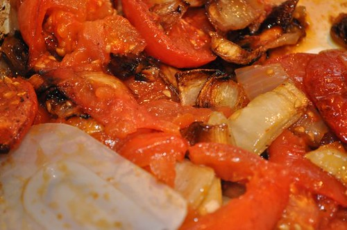 tomatoes/roasted onions stirred