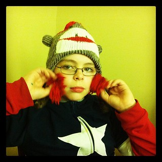 """After the great """"beaver hat tragedy"""" Vinnie switched to the Sock Monkey hat"""