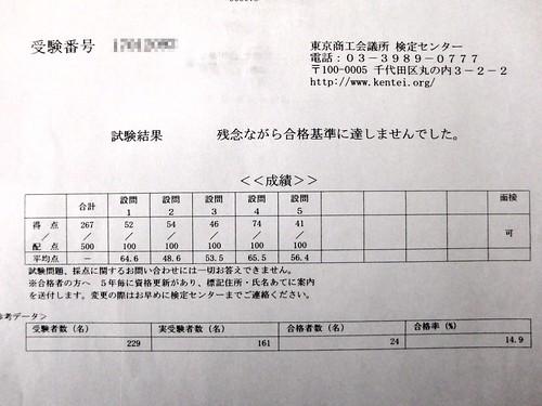 販売士1級試験結果表