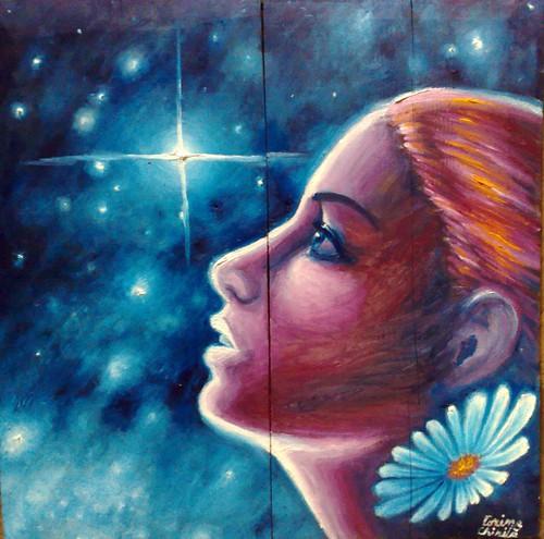 Floare albastra - Privind luceafarul - Pictura ulei pe lemn inspirata din poeziile lui Mihai Eminescu