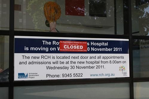 Signage outside the former Royal Children's Hospital