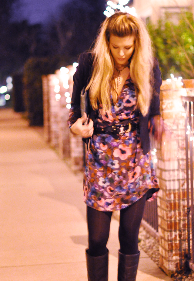 floral dress with black