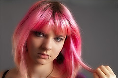 Roxane, a pink hair lady