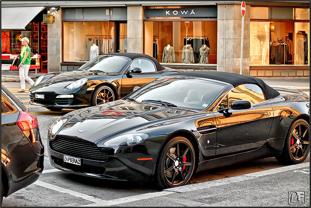 Suiza - Supercoches - Aston Martin Vantage coupé y Porsche Boxter - Zurich
