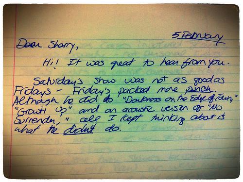 Letter never sent, 1985
