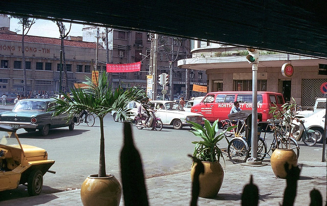 Saigon 1973 - Continental Hotel. View from bar area