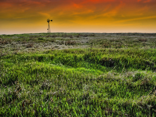 ranch oklahoma windmill rural landscape outside outdoors countryside twilight midwest energy farm hill prairie grassland windpower