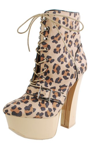 Anne14 Leopard Laced Platform Ankle Boots NATURAL