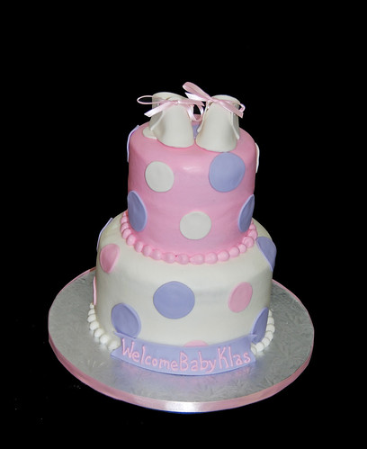 pink and purple polka dot 2 tier baby shower cake