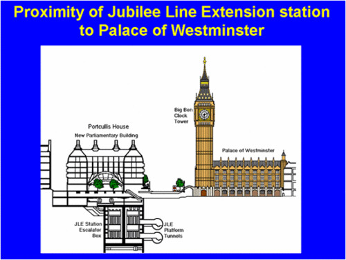 Proximity of Jubilee Line Tunnelling to Big Ben from IanVisits website