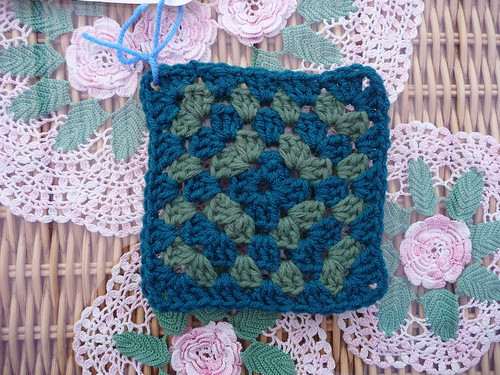 This Square resembles grass and pine trees from Kay's window! Thank you so much for these Squares! I love them.