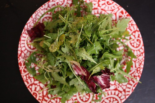 Arugula and Baby Greens with Olive Oil, Salt, and Black Pepper