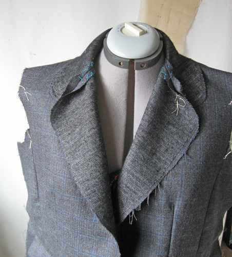grey jacket collar stitched on