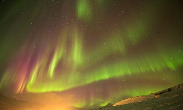 Wonderful aurora borealis night