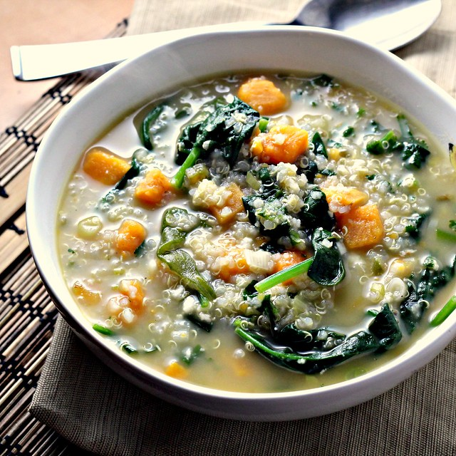 Quinoa Chowder with Sweet Potatoes, Spinach, Feta, and Scallions ...