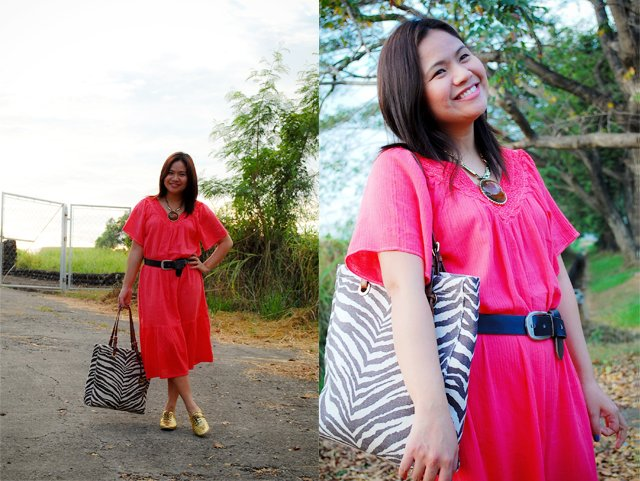 Pink Dye Dress, Denise Katipunera, pinay fashion blogger, mommy style, fashion on a budget, pink dress gold shoes