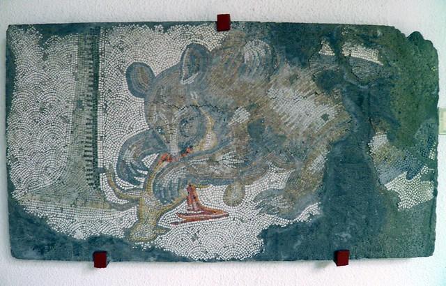 Bear and lamb mosaic, Palatium Magnum (Constantinople's Great Palace), Palace Mosaic Museum, Istanbul Palace Mosaic Museum, Istanbul