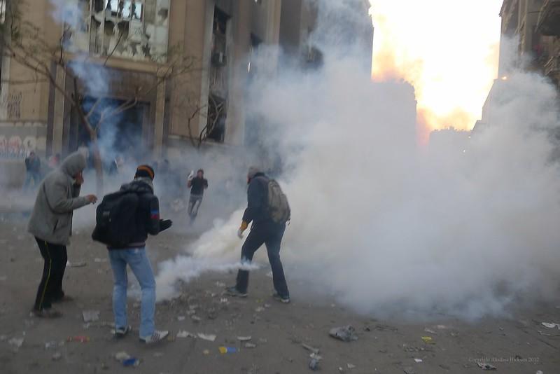 Tear Gas on Mohamed Mahmoud Street.