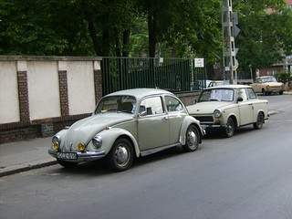 A VW Beetle and two Trabant 601 in Budapest