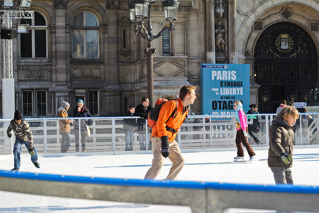 Ice skating at Hôtel de Ville