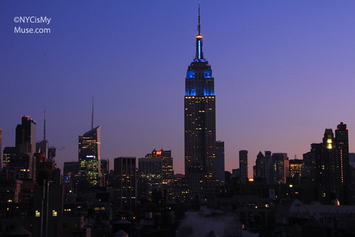 Empire State Building still lit in blue at dawn in honor of NY Giants Superbowl win