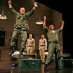 Sergeants Cokes (Larry Clarke, jumping) and Rooney (John Sharian, r.) show the young soliders how it feels to jump out of an airplane and parachute to the ground in the Huntington Theatre Company's production of Streamers, directed by Scott Ellis, playing at the BU  Theatre, part of the 2007-2008 season. Photo: T. Charles Erickson.