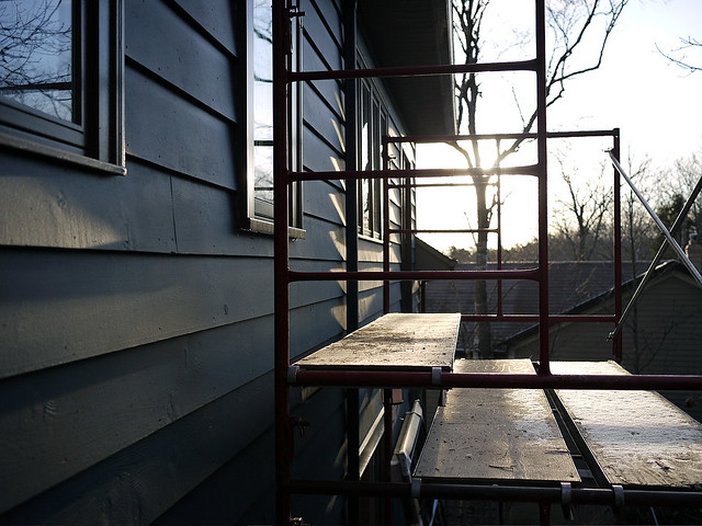 sunrise over scaffold