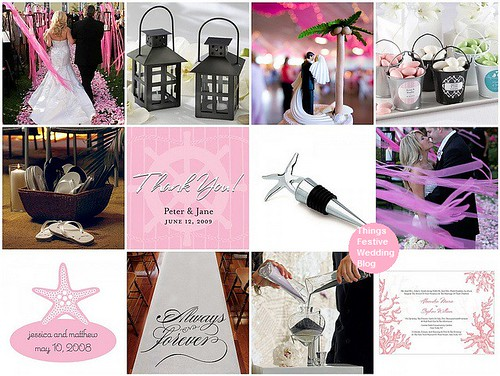 pink and black beach Wedding Theme