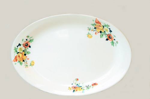 Vintage Cream Serving Platter with Floral Accents