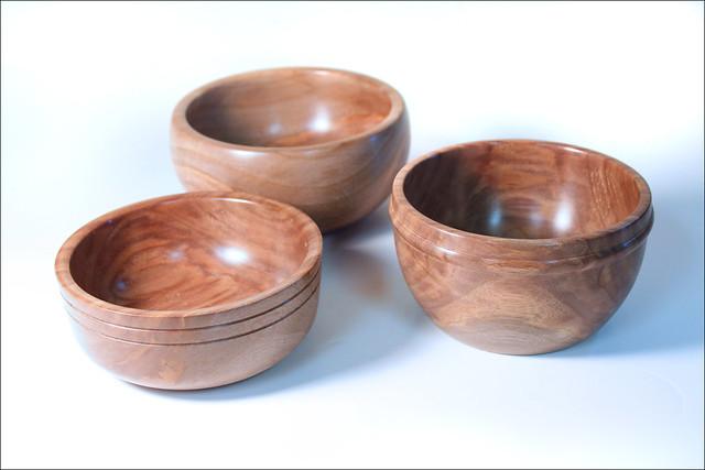 Three Walnut Bowls