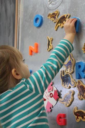 Playing at the magnet board
