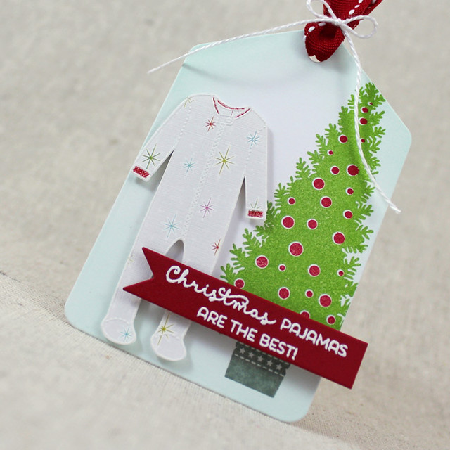 Christmas Pajamas Tag Close Up