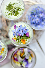 Floral matcha cream verrine