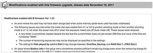 Nikon D7000 firmware update: A:1.0.2 / B:1.03